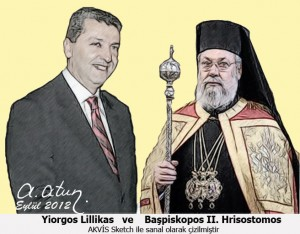 Yiorgos Lillikas and Archbishop Hrisostomos II by Ata ATUN