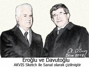 Derviş Eroğlu and Ahmet Davutoğlu by Ata ATUN