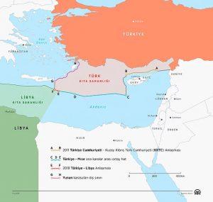 Doğu Akdeniz'de Değişen Dengeleri gösteren Anadolu Ajansı Haritası