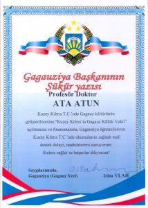 Ata Atun'a Gagauziya Başkanı tarafından verilen Şükür Yazısı
