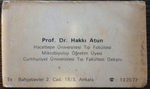 Prof. Dr. Hakkı Atun-Kartvizit 1970 yılı