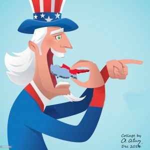vector illustration of uncle sam eating hamburger and pointing…