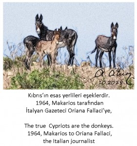 Kıbrıs'ın Esas Yerlileri eşeklerdir. The true Cypriots are the donkeys. Makarios to Fallaci,,1964.